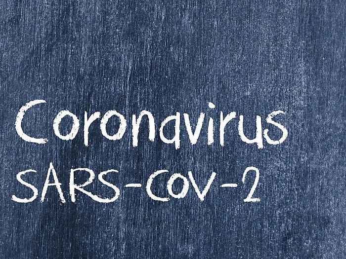 """Die Wörter """"Coronavirus"""" und """"SARS-CoV-2"""" sind mit Kreide auf eine blaue Tafel geschrieben."""